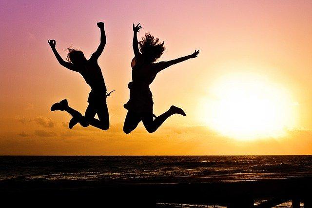 Women jumping happiness